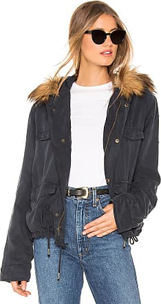 Young Fabulous & Broke Wells Crop Jacket With Faux Fur Lining in Navy