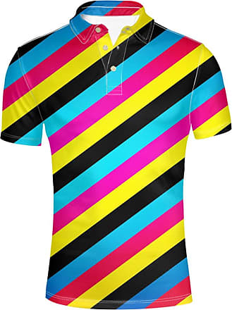 Hugs Idea Colorful Striped Mens Golf Pique Sport Shirt Summer Short Sleeve T-Shirts Soft Sport Tee