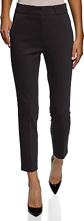oodji Collection Womens Slim-Fit Pleated Trousers, Black, UK 16 / EU 46 / XXL