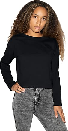 American Apparel Womens Fine Jersey Long Sleeve Boxy Crop Top Shirt, Black, Large