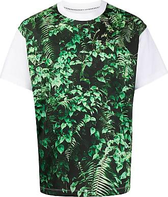 Fumito Ganryu Camiseta com estampa de folhas - Preto