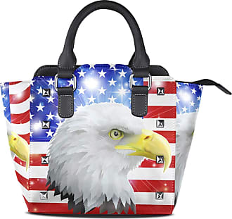 NaiiaN City Light Weight Strap Leather Glitter USA Flag Animal Eagle Tote Bag Purse Shopping Shoulder Bags Handbags for Women Girls Ladies Student
