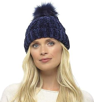 Foxbury Ladies Chenille Hat with Faux Fur Bobble Blue