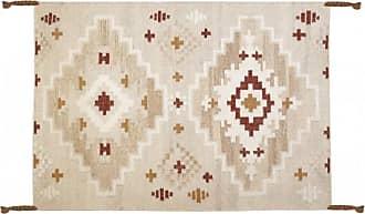 Venta-Unica.com Alfombra kilim tejida a mano de lana KIAN - 160x230 cm - Beige claro, toques anaranjados