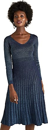 Yumi Navy Lurex Knit Dress With Pleated Skirt