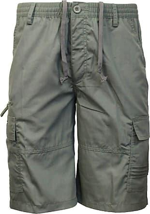 Saute Styles Mens Elasticated Waist Casual Bermuda Combat Cargo Shorts Work Summer Half Pants Size XL Green