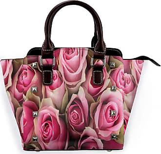Browncin Rose Blooming Pink Roses Festive Bridal Bouquet Romance Sweetheart Love Valentines Detachable Fashion Trend Ladies Handbag Shoulder Bag Messenger Bags