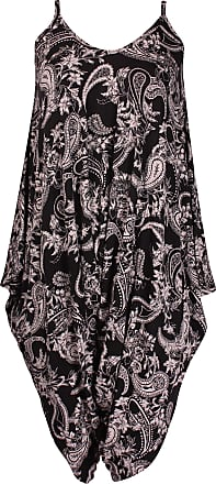 Purple Hanger Womens Plus Size Paisley Spot Print Ladies Sleeveless Baggy Strappy Vest Shorts Playsuit Jumpsuit Jumpsuit Black & Mocha Paisley 20 - 22