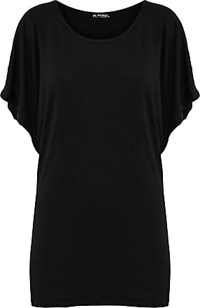 Be Jealous Womens Ladies Casual Batwing Sleeve Ruched Round Neck Oversize Baggy T Shirt Top Black