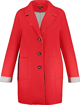 Ulla Popken Womens Plus Size Double Face Button Front Knit Coat Neon Red 32/34 727084 51-58+