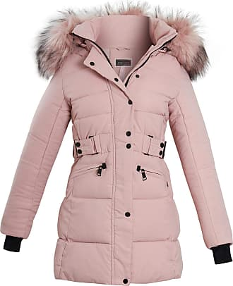 Shelikes Womens Ladies Long Faux Fur Trim Hood Belted Quilted Jacket Puffer Coat Size [Pink UK 10]