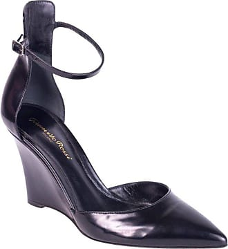 55e9fa23f23 Gianvito Rossi Black Leather Ankle Strap Pointed Toe Wedges