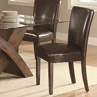 Coaster Fine Furniture Nessa Brown Leather Like Vinyl Parson Chairs Brown (Set of 2)
