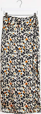 Pieces wrap skirt in mixed animal print-Multi
