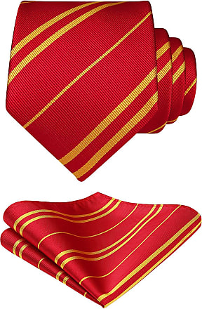 Hisdern Mens Striped Tie Handkerchief Wedding Party Necktie & Pocket Square Set