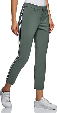 oodji Collection Womens Side Stripe Slim-Fit Trousers, Green, 16
