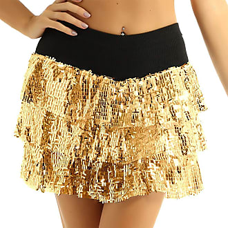 TiaoBug Womens Sparkle Sequins Running Skirt Race Costume Glitter Ballet Tutu Dance Skirts Gold OneSize