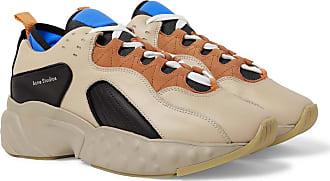 Acne Studios Rockaway Suede-trimmed Leather Sneakers - Beige