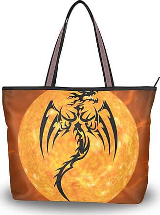 Lorona Women Dragon Fire Monster Creature Canvas Shoulder Hand Bag Large Capacity Tote Bag