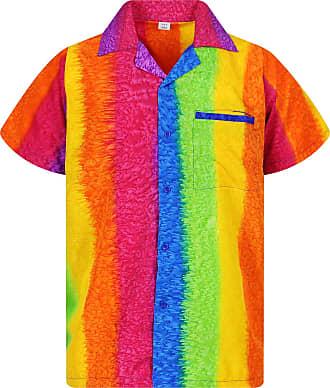 V.H.O. Funky Hawaiian Shirt, Shortsleeve, Rainbow Vertical, Multicoloured, 3XL