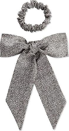 Slip Leopard-print Silk Ribbon And Hair Tie Set - Leopard print