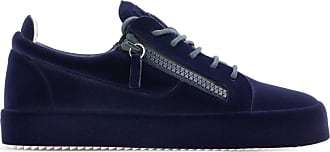 Giuseppe Zanotti Leather low-top sneaker with flocking effect THE UNFINISHED