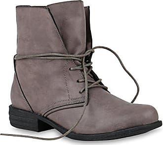 e52c126771227b Stiefelparadies Damen Stiefeletten Schnürstiefeletten Leder-Optik Schuhe  Kurzschaft-Stiefel Boots Schnürboots 146646 Grau Schwarz