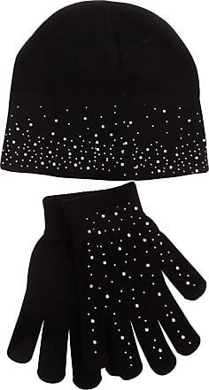 Foxbury Womens/Ladies Diamante Hat And Glove Set (One Size) (Black)