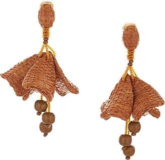 Oscar De La Renta Impatiens woven earrings - Brown