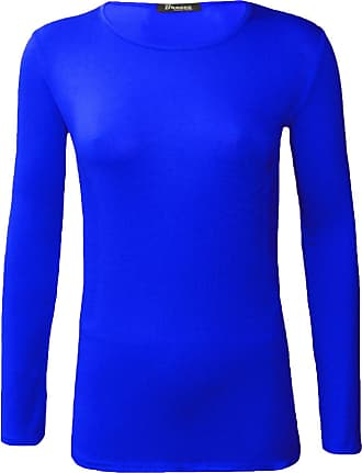 ZEE FASHION New Ladies Plain Stretch Fit Long Sleeve Womens T-Shirt Round Neck Basic Top Plus Size UK 8-26 Royal Blue