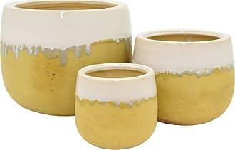Three Hands Yellow Ceramic Planters - Set of 3