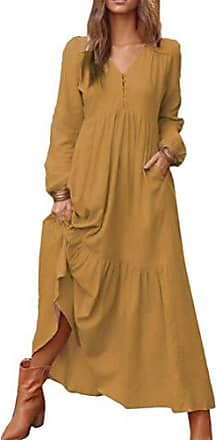 Damen 3//4 Arm Freizeit Shirt Kleid Plus Rundhals Streifen Hemdkleid Maxikleid