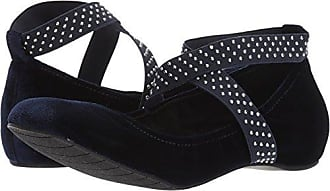 Kenneth Cole Reaction Womens Gen-eral Ballet Flat with Elastic Straps Velvet, Navy, 6 M US