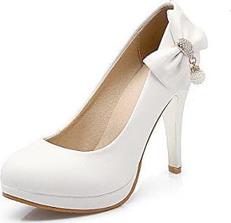 014e7dd99af9ba VogueZone009 Damen Rein PU Leder Stiletto Rund Zehe Ziehen auf Pumps Schuhe