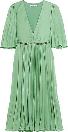 b4aecfd8984 Halston Heritage Halston Heritage Woman Cape-back Pleated Crepe De Chine  Dress Light Green Size