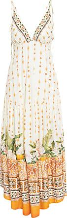 Farm Vestido Longo Flor Do Sol - Bege