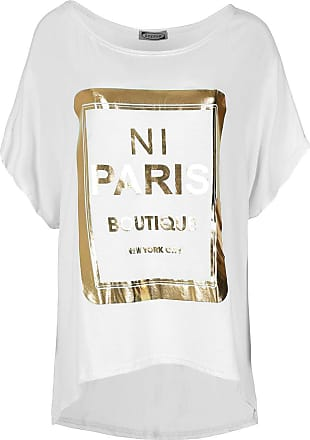 Be Jealous Womens Printed Lagenlook Batwing T Shirt Top White M/L (UK 12/14)