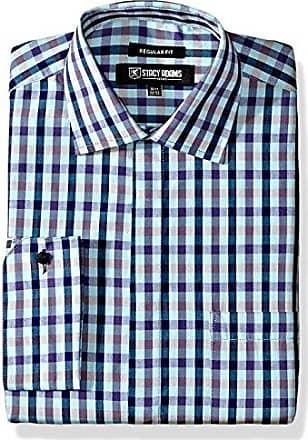 Stacy Adams Mens Multi Color Gingham Classic Fit Dress Shirt, Aqua, 17 Neck 32-33 Sleeve