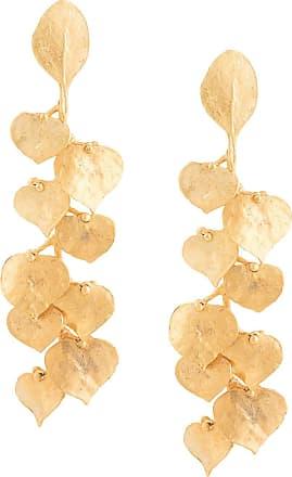 Kenneth Jay Lane Par de brincos de folha - Dourado