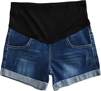 Inlefen Women Maternity Denim Jean Shorts Lounge Shorts Pregnancy Short Pants Adjustable Over Bump Jeans Pants (25-2XL)