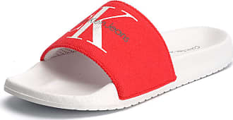 Calvin Klein Jeans Womens Womens Chantal Heavy Canvas Slide Sandals in Red - UK