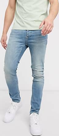 Topman organic skinny jeans in green cast blue