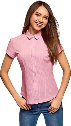 oodji Womens Short Sleeve Cotton Shirt, Pink, UK 14 / EU 44 / XL