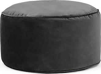 MADE.COM Lux runder Polsterhocker (60 cm), Samt in Grau
