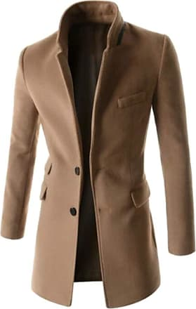 H&E Mens Fall/Winter Outwear Wool-Blended Slim Fit Two Button Pea Coat Light Tan Small