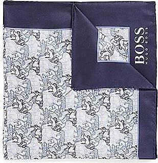 BOSS Italian-made silk pocket square with placement print