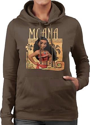 Disney Moana Floral Frame Womens Hooded Sweatshirt Chocolate