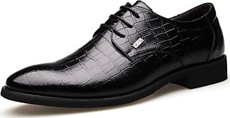 LanFengeu Men Dress Shoes Office Work Comfortable Non Slip Low Top Lace up Derbys Pointed Toe Business Leather Shoes Black