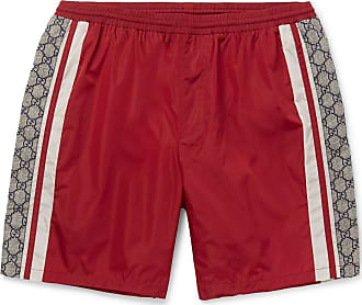 17ba68eb85 Gucci Wide-leg Long-length Striped Logo-print Swim Shorts - Red