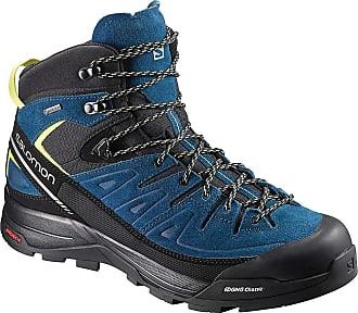 209ac04fd628 Salomon Mens X Alpine Mid Leather GTX Boot - 13 - Black   Poseidon   Sulphur